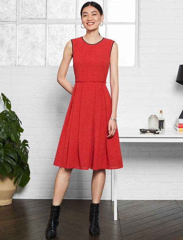 Sadie Sleeveless Pleated Skirt Dress - Crimson