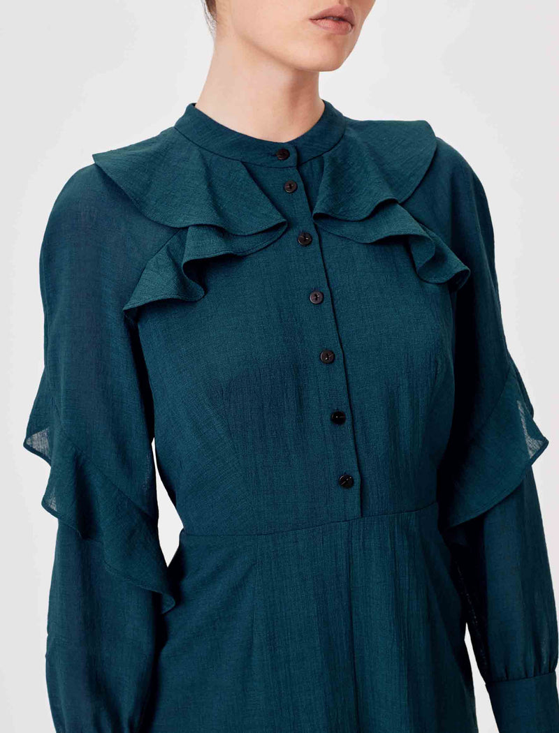 Ava Long Sleeve Ruffle Midi Dress - Petrol Blue