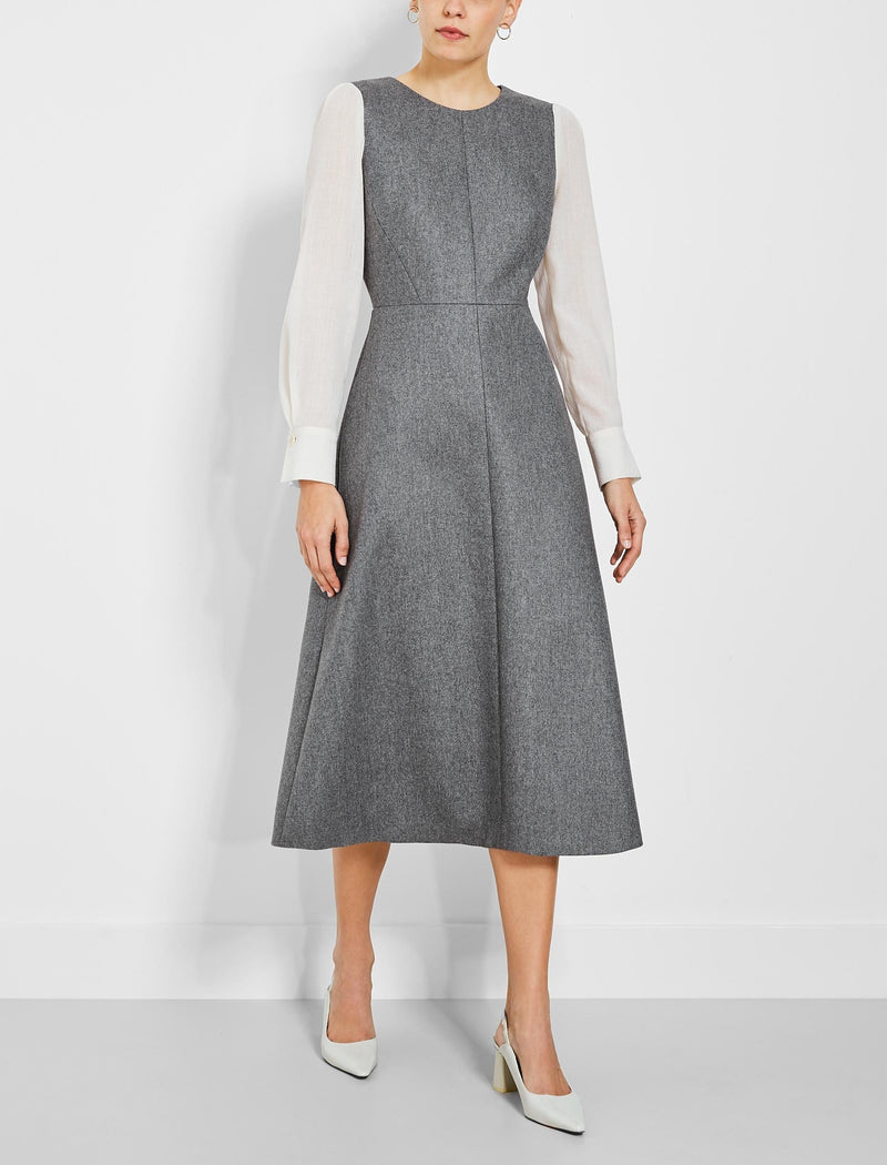 Tilda Contrast Sleeve Wool Midi Dress - Grey/Cream