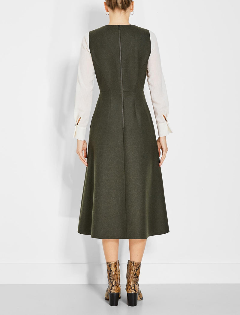 cream and khaki green wool midi dress