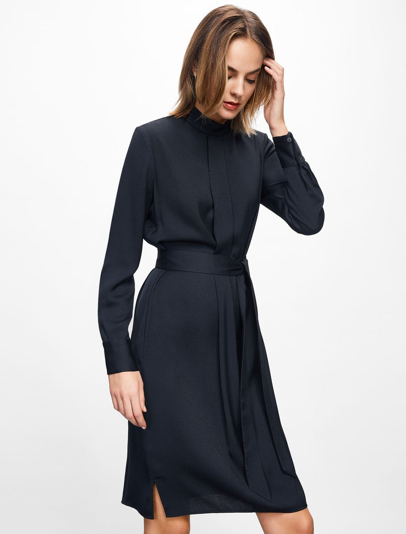 Ellen Funnel Neck Knee Length Dress - Navy