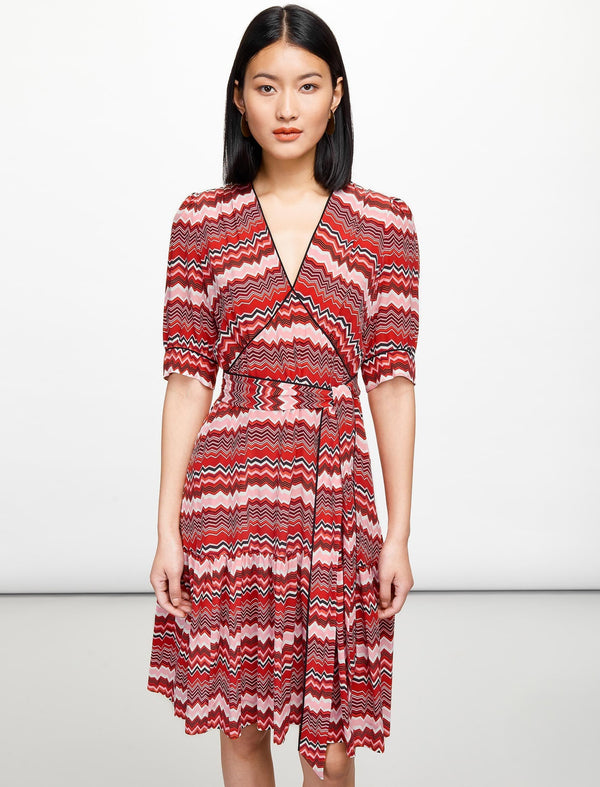 Maisie Knee Length Tea Dress - Crimson Chevron