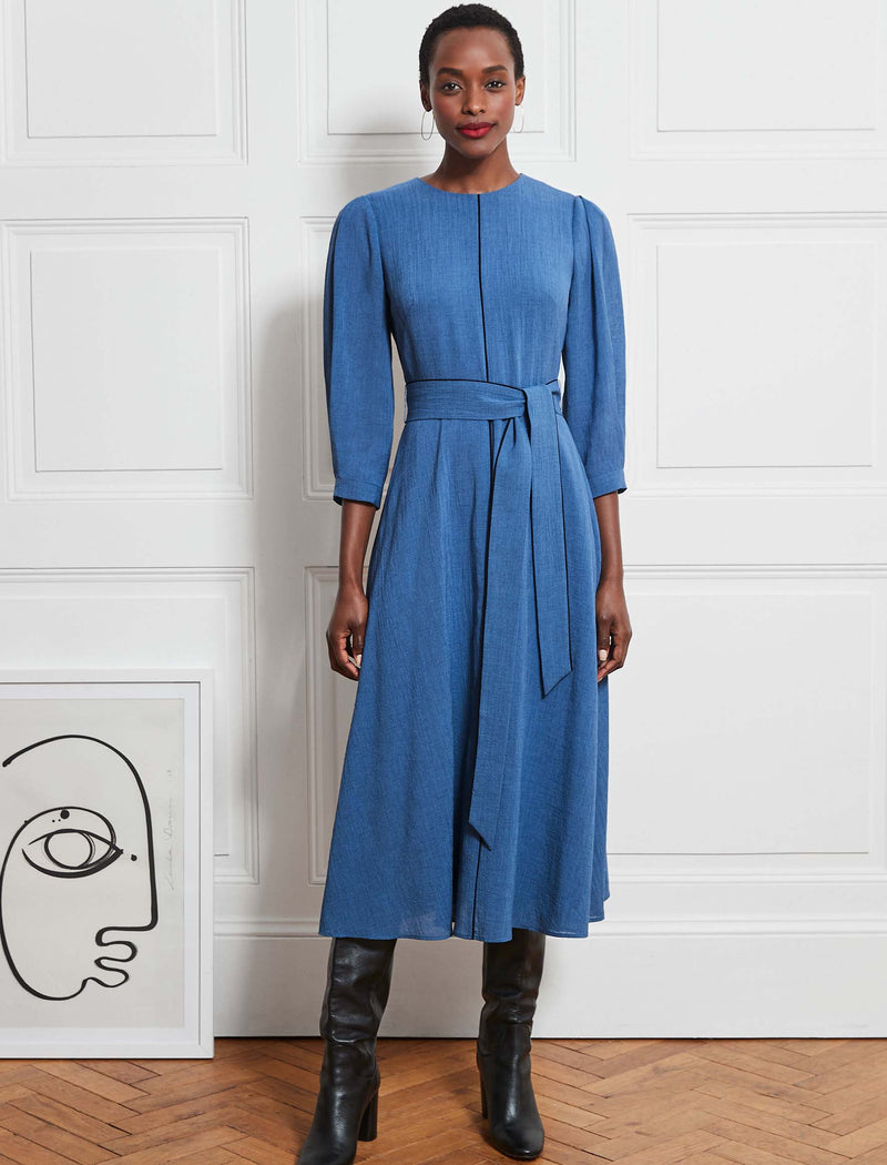 Isabel 3/4 Sleeve Maxi Dress - Cornflower Blue