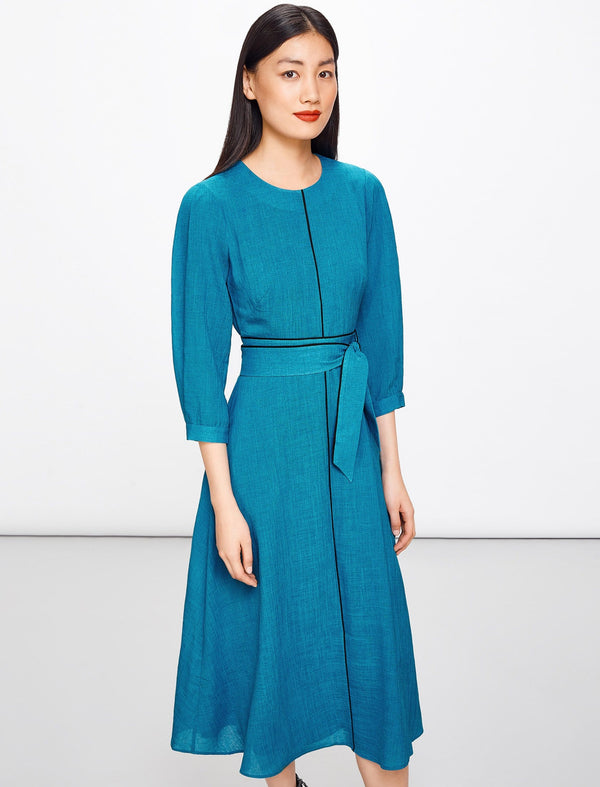 Isabel 3/4 Sleeve Maxi Dress - Turquoise
