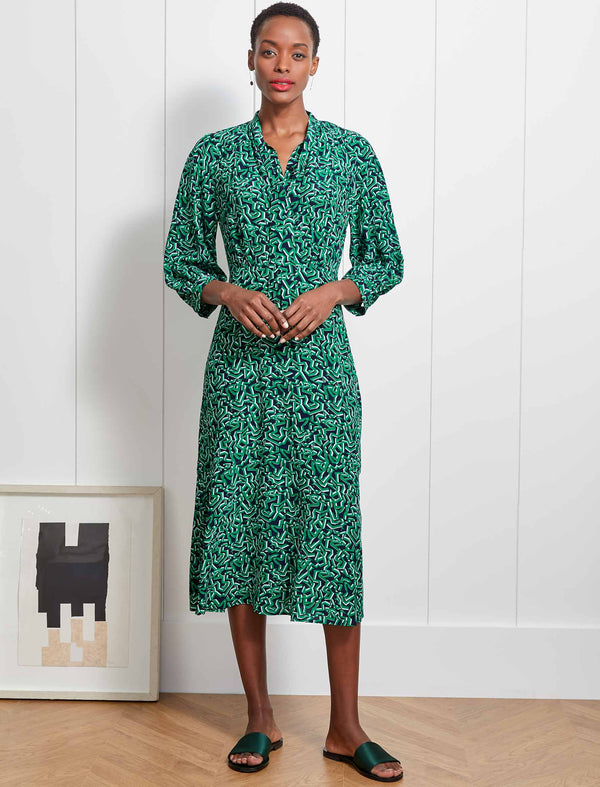 Daria Silk Pussy-Bow Midi Dress - Emerald Green Shattered Glass Print