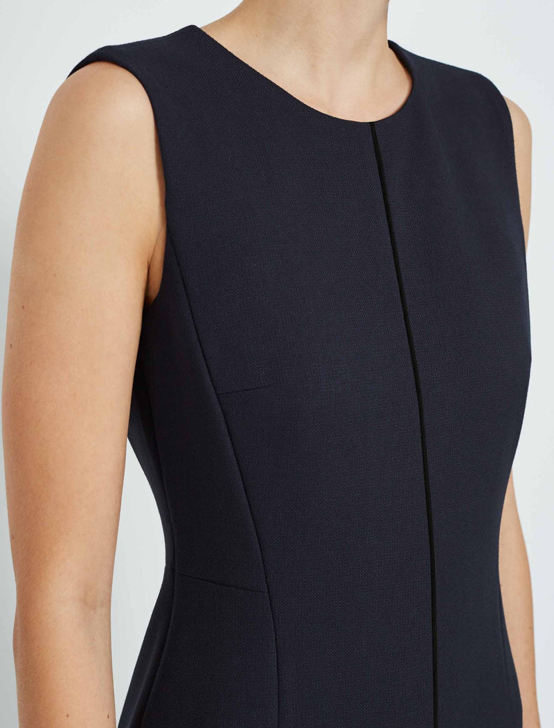 navy sleeveless pencil dress