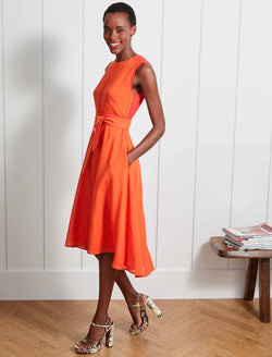Ginnie Sleeveless Colourblock Midi Dress - Crimson/Burnt Orange