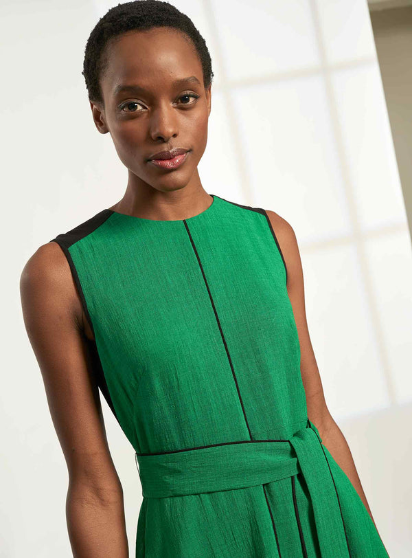 Ginnie Sleeveless Colourblock Midi Dress - Emerald Green/Black