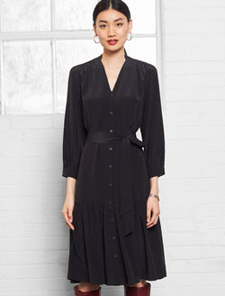 Martha Silk Midi Shirt Dress - Black