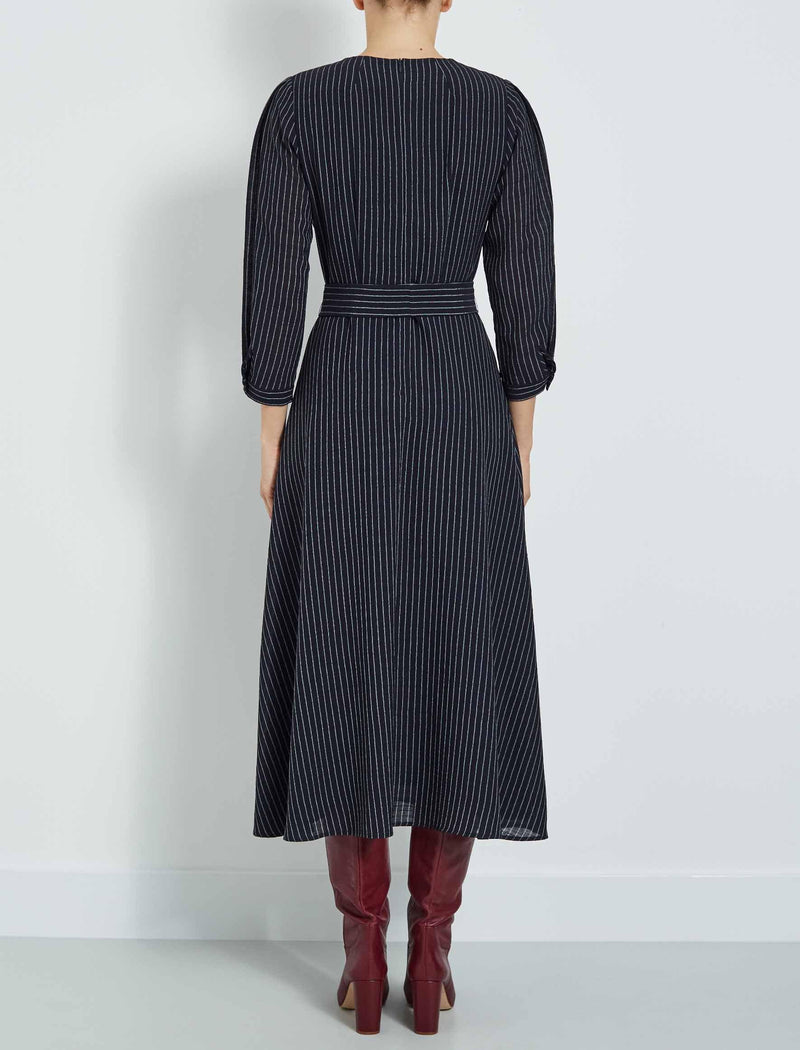 3/4 sleeved navy maxi dress