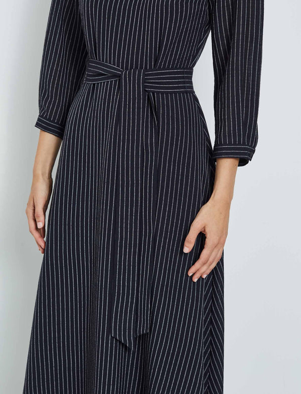 Isabel Gathered 3/4 Sleeve Maxi Dress - Navy/White Pinstripe
