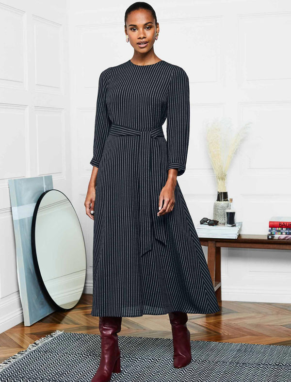 Isabel 3/4 Sleeve Maxi Dress - Navy/White Pinstripe