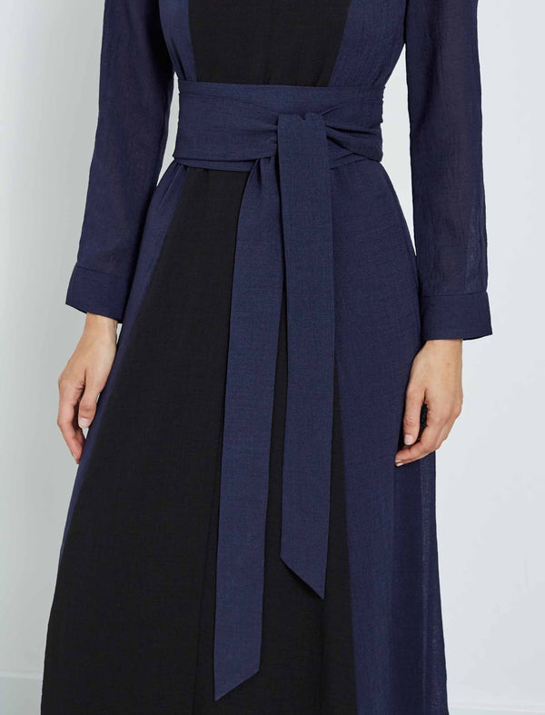 Aubrie Long Sleeve Contrast Panel Maxi Dress - Navy/Black