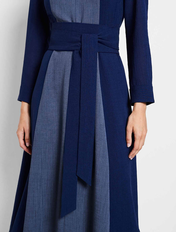 Aubrie Long Sleeve Contrast Panel Maxi Dress - Powder Blue/Cobalt