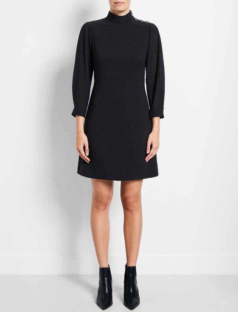Tegan Button Funnel Neck Shift Dress - Black