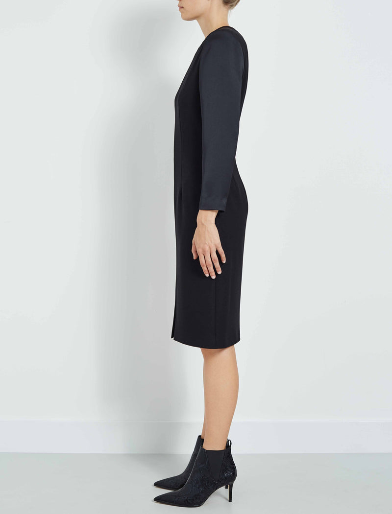Alexia Contrast Sleeve Pencil Dress - Black