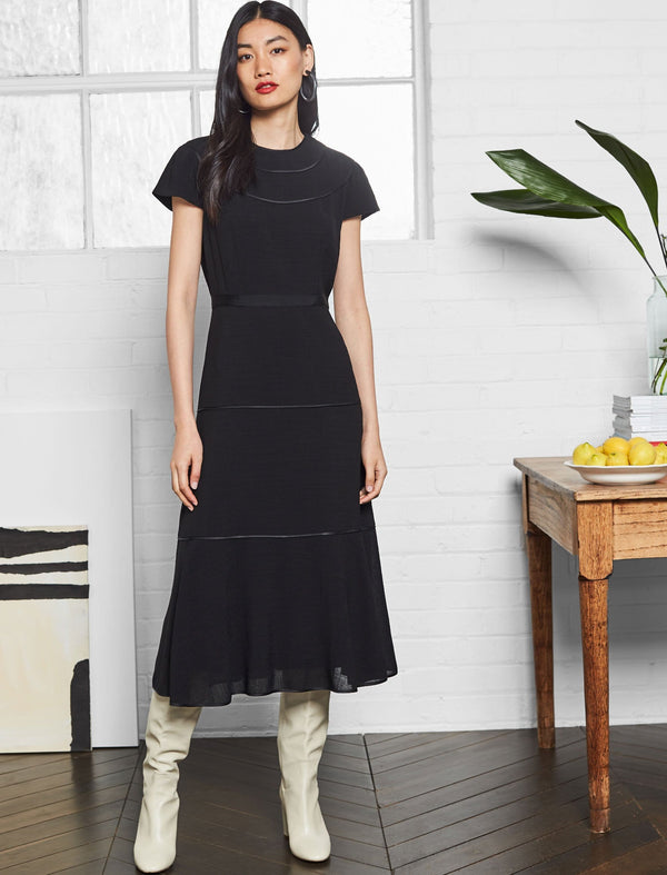Corinne Short Sleeve Tiered Maxi Dress - Black
