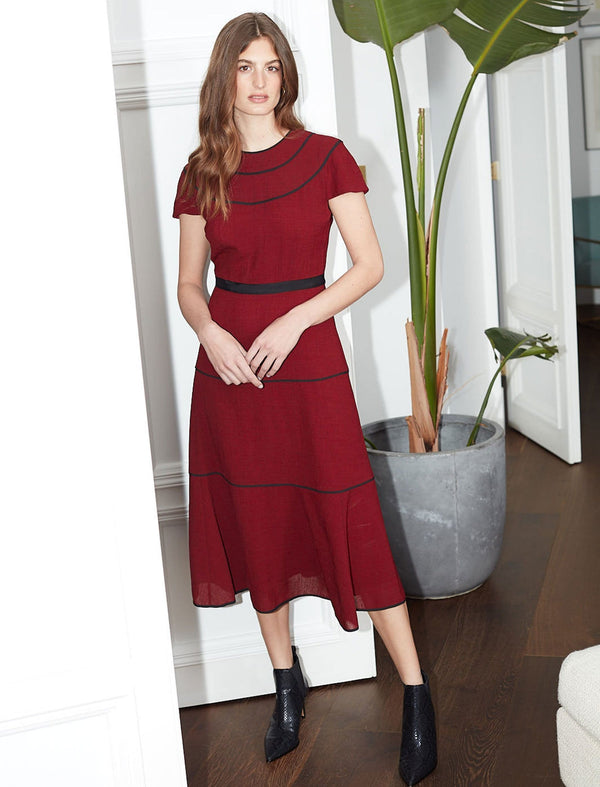Corinne Short Sleeve Tiered Maxi Dress - Dark Red