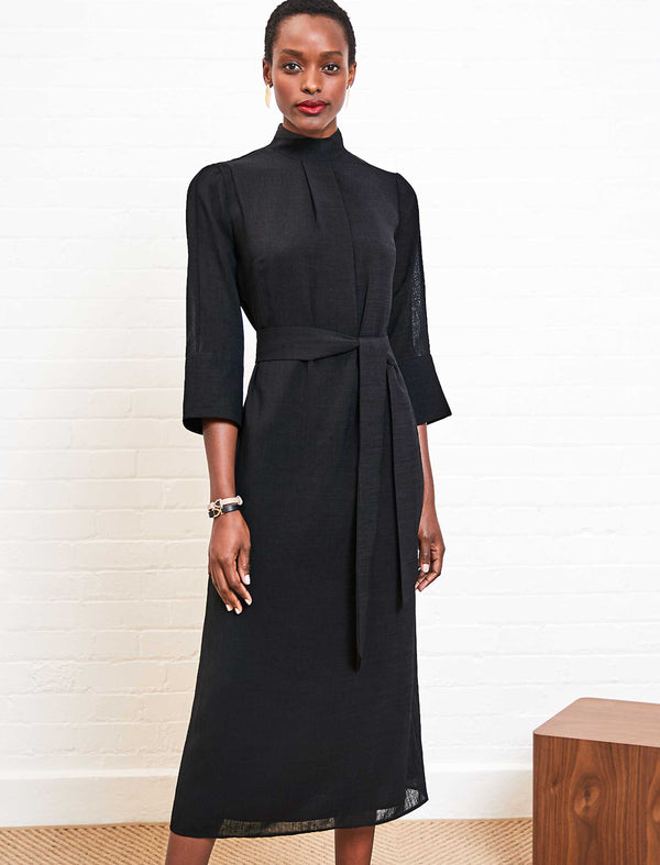 Ada Funnel Neck Maxi Dress - Black