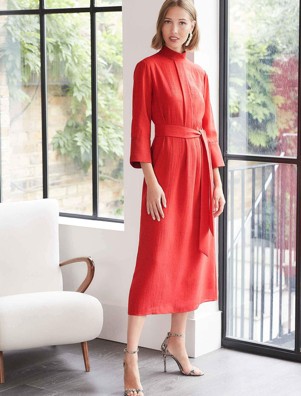 Ada Crimson Red Funnel Neck Maxi Dress | Red Funnel Dress UK