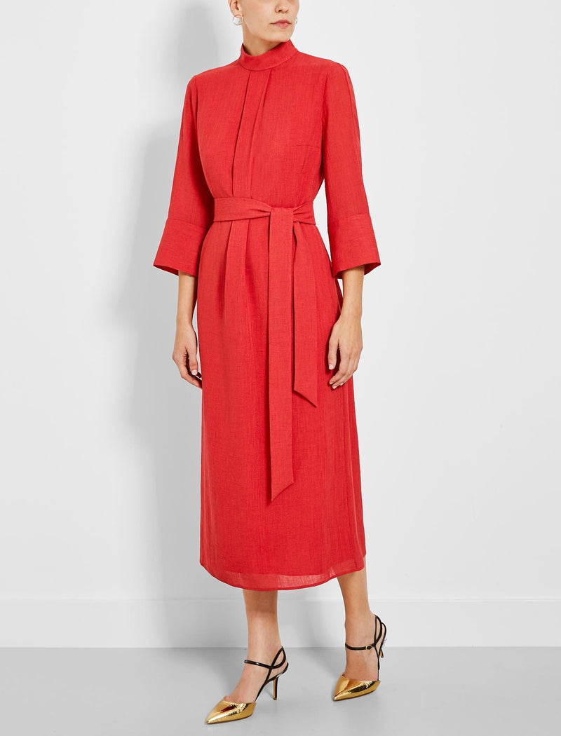 red funnel neck dress