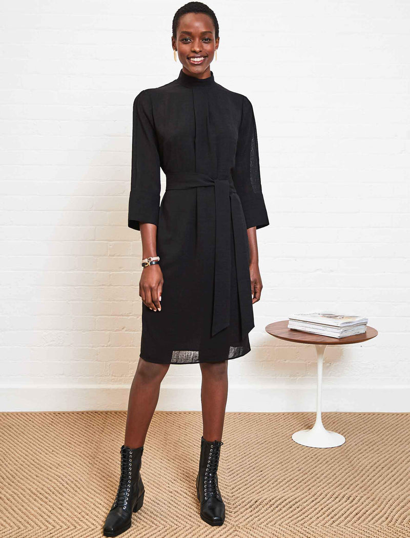Ada Funnel Neck Knee Length Dress - Black