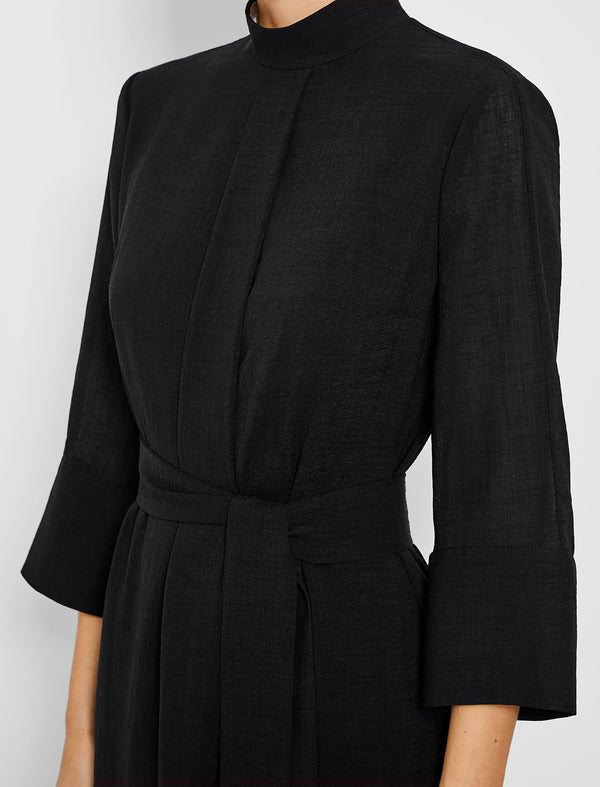 funnel neck black dress