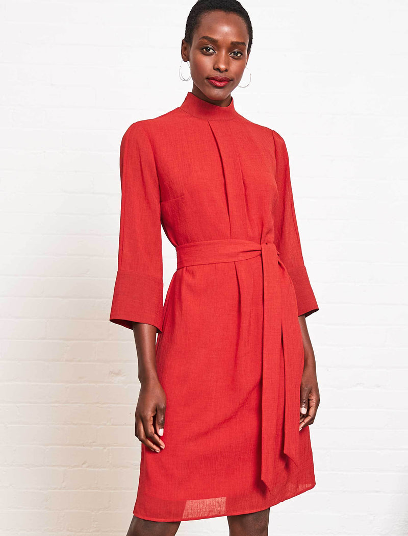 Ada Funnel Neck Knee Length Dress - Crimson