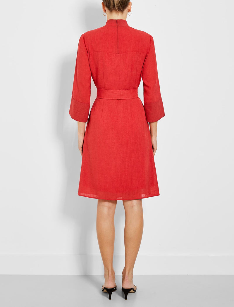 red knee length funnel neck dress