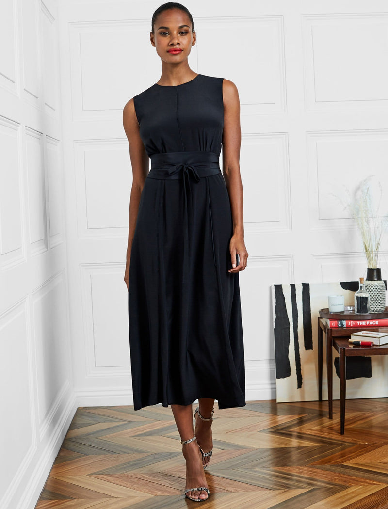 Rosie Silk Sleeveless Maxi Dress With Wide Belt - Black
