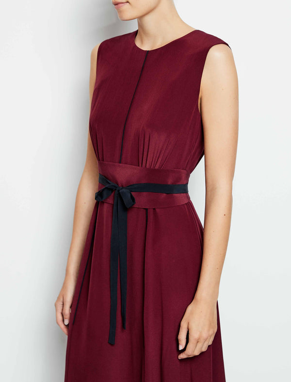Rosie Silk Sleeveless Maxi Dress With Wide Belt - Dark Red
