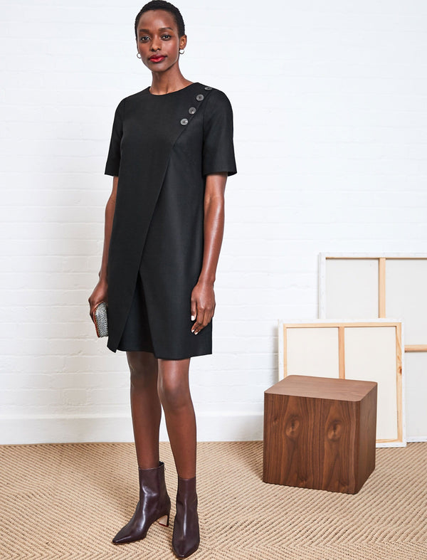 Tia Asymmetric Button Detail Black Shift Dress | Button Shift Dress | Asymmetric Dress