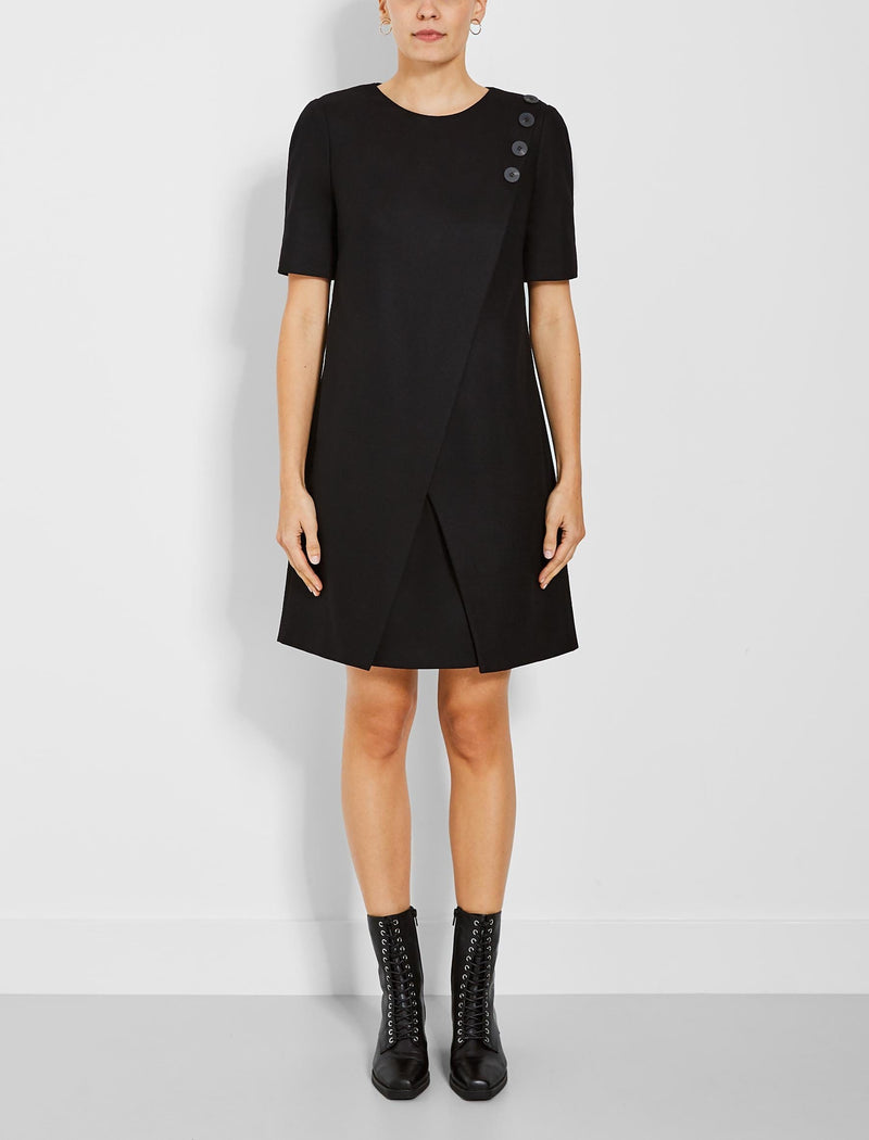 Tia Asymmetric Button Detail Shift Dress - Black