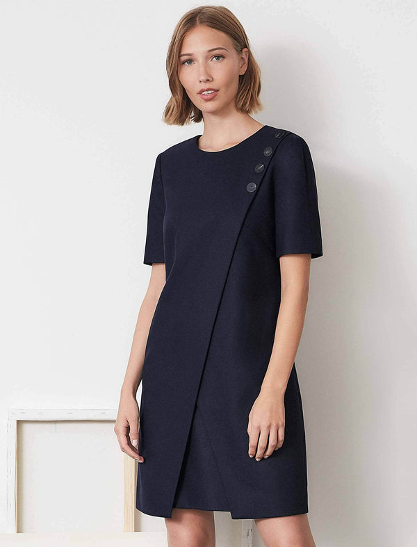 Tia Asymmetric Button Detail Shift Dress | Navy Asymmetric Dress