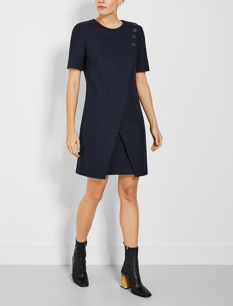 Tia Asymmetric Button Detail Shift Dress - Navy