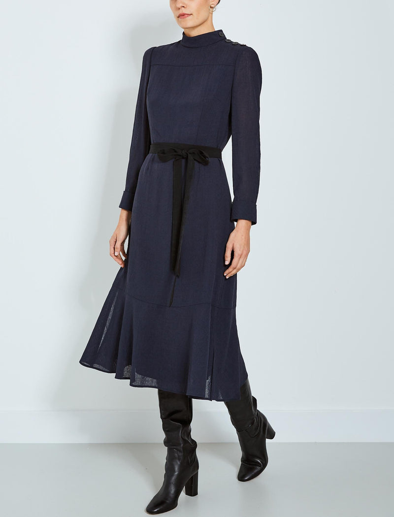 Romy Button Funnel Neck Maxi Dress - Navy