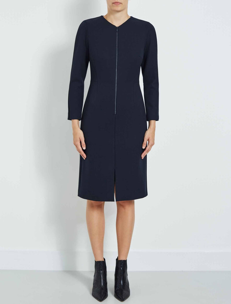 Edie Zip Front Pencil Dress - Navy