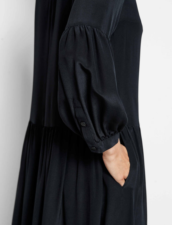 Effie Silk Drop Waist Blouson Sleeve Dress - Black