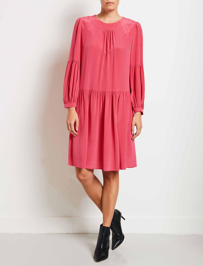 Effie Silk Drop Waist Blouson Sleeve Dress - Rose