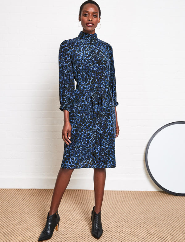 Lauren Silk Gathered Funnel Neck Dress - Cobalt Leopard Pansy