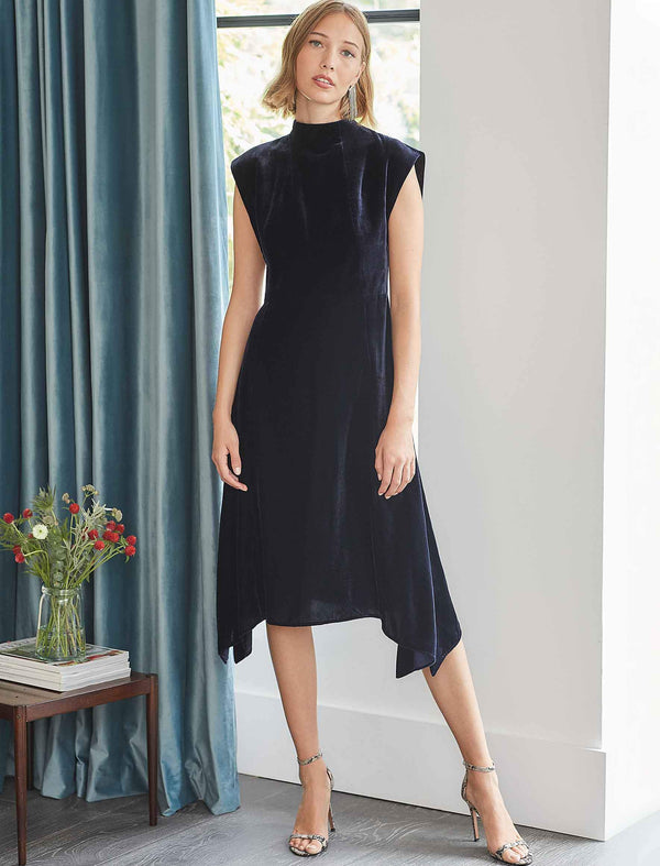 Allegra Velvet Asymmetric Hem Midi Dress - Navy