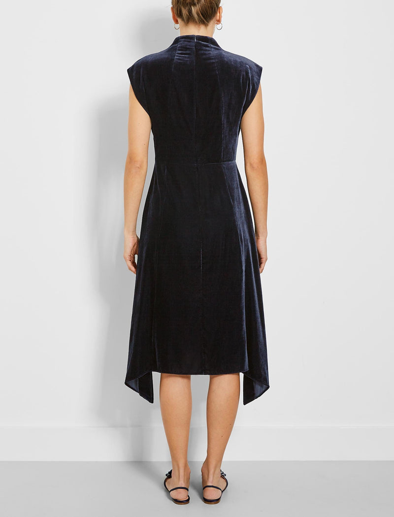 navy asymmetric dress