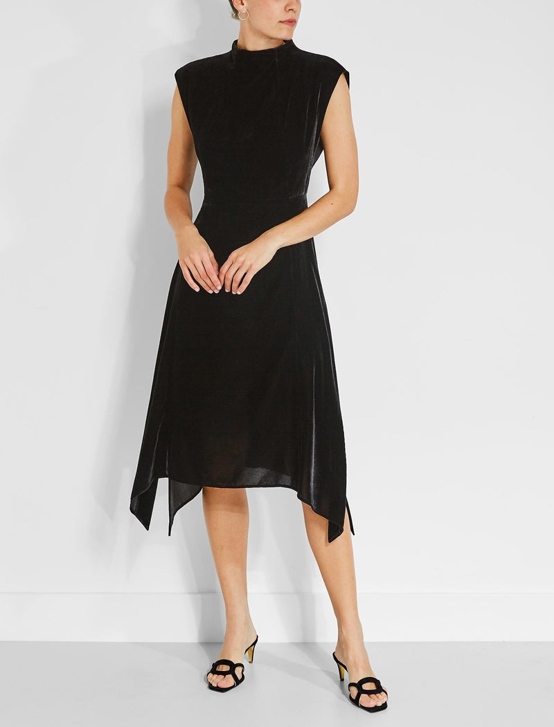 Allegra Velvet Asymmetric Hem Midi Dress - Black