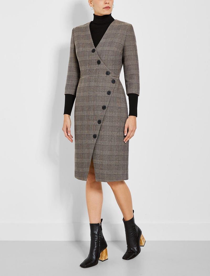 Sofie Asymmetric Button Detail Pencil Dress - Brown Check
