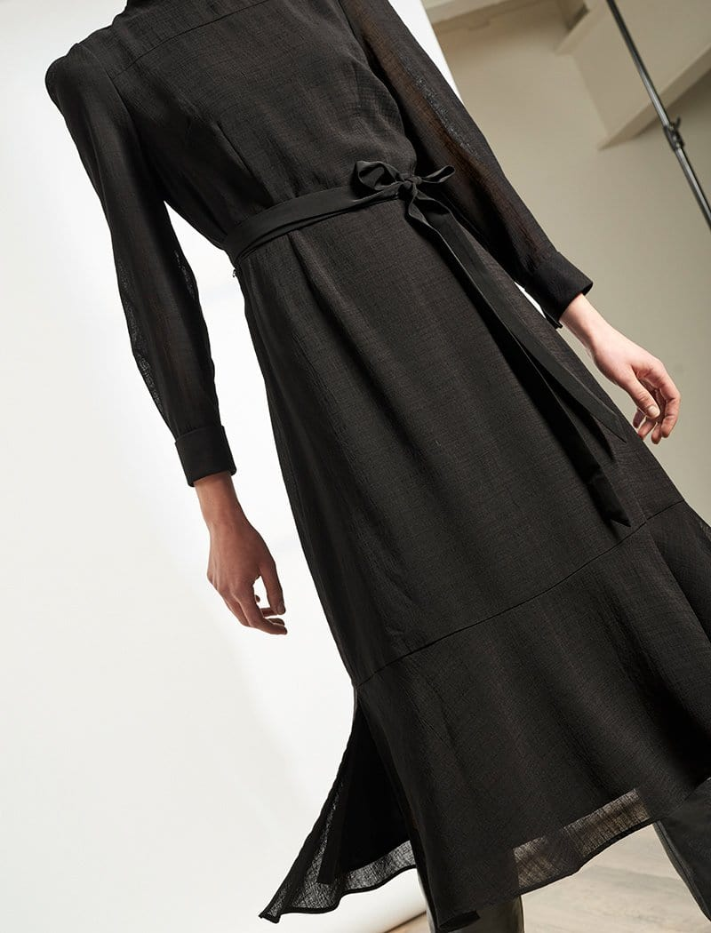 Romy Button Funnel Neck Maxi Dress - Black