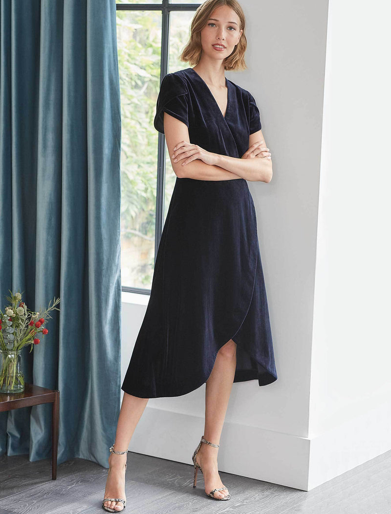 Layla Tulip Sleeve Cross Over Velvet Dress - Navy