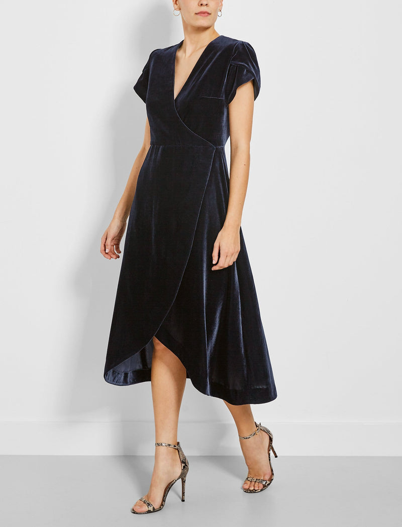 Layla Tulip Sleeve Cross Over Velvet Dress - Black