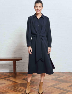 Esther Tie Front Shirt Dress - Navy