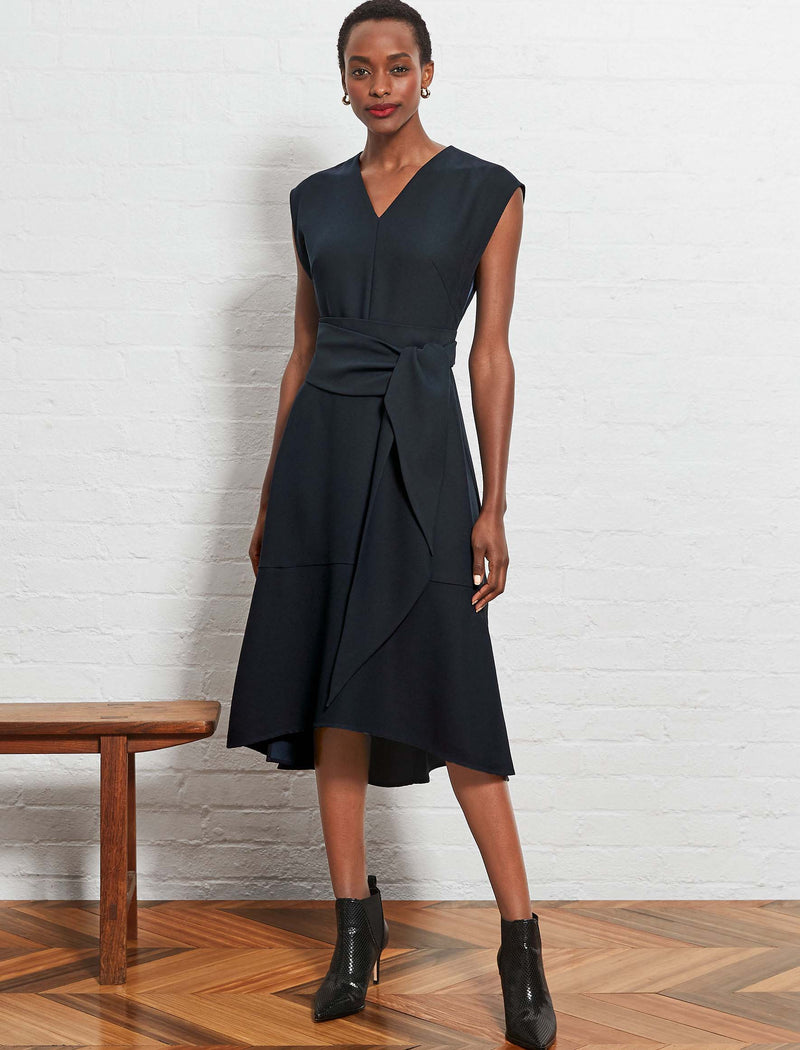 Matilda V-Neck Dipped Hem Midi Dress - Black