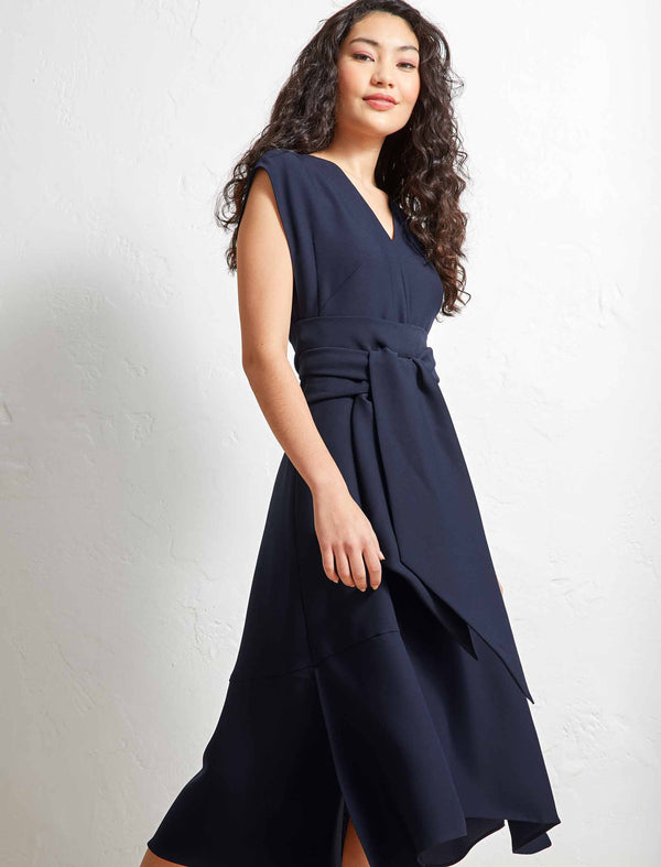 Matilda V-Neck Dipped Hem Midi Dress - Navy